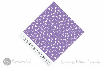 "12""x12"" Permanent Patterned Vinyl - Awareness Ribbon - Lavender"