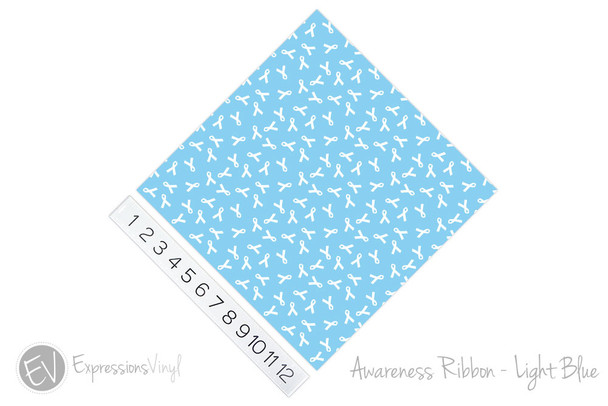 "12""x12"" Permanent Patterned Vinyl - Awareness Ribbon - Light Blue"
