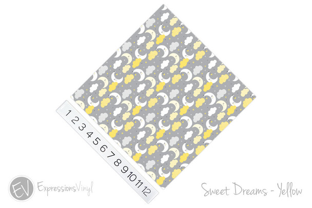 "12""x12"" Permanent Patterned Vinyl - Sweet Dreams - Yellow"
