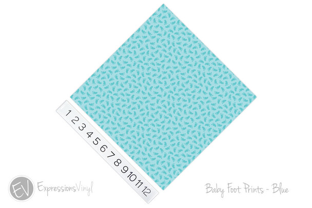 "12""x12"" Permanent Patterned Vinyl - Baby Foot Prints - Blue"