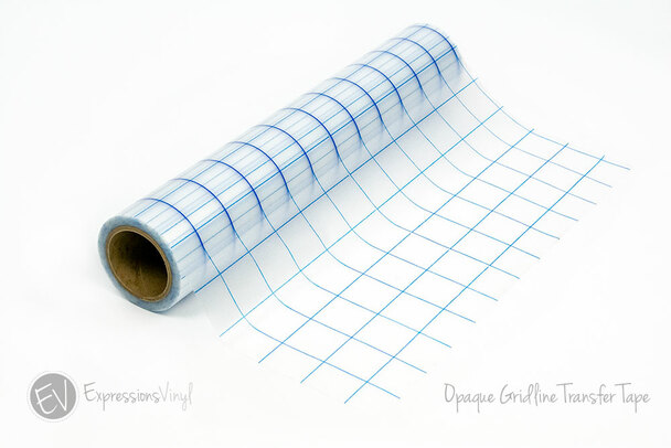 "Gridlined Opaque Transfer Tape - 12""x30' Roll (Blue 1"" Grid)"
