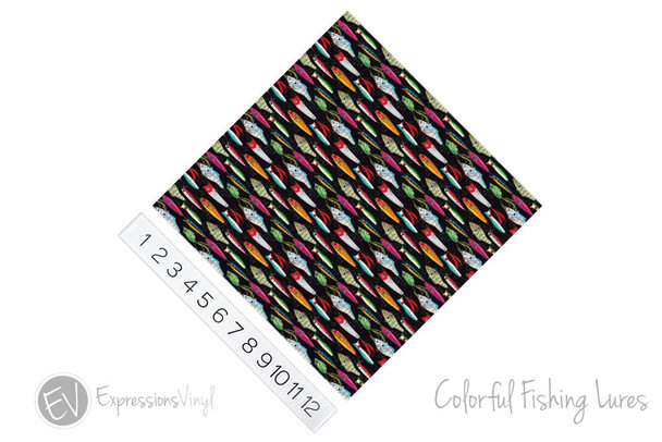 "12""x12"" Permanent Patterned Vinyl - Colorful Fishing Lures"
