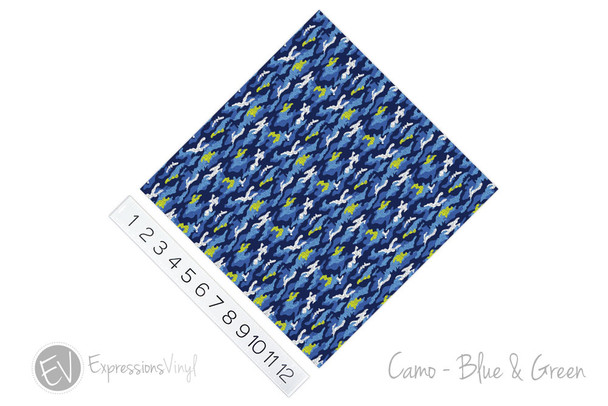 "12""x12"" Patterned Heat Transfer Vinyl - Camo Blue Green"