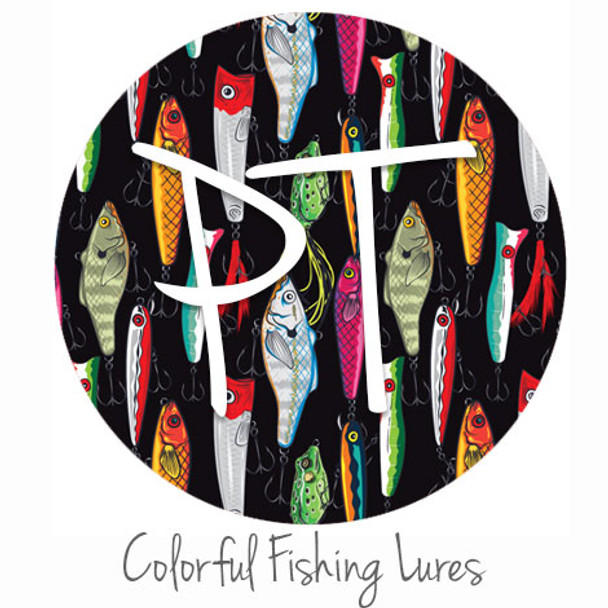 "12""x12"" Patterned Heat Transfer Vinyl - Colorful Fishing Lures"
