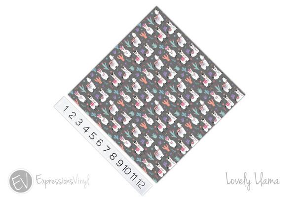 "12""x12"" Patterned Heat Transfer Vinyl - Lovely Llama"