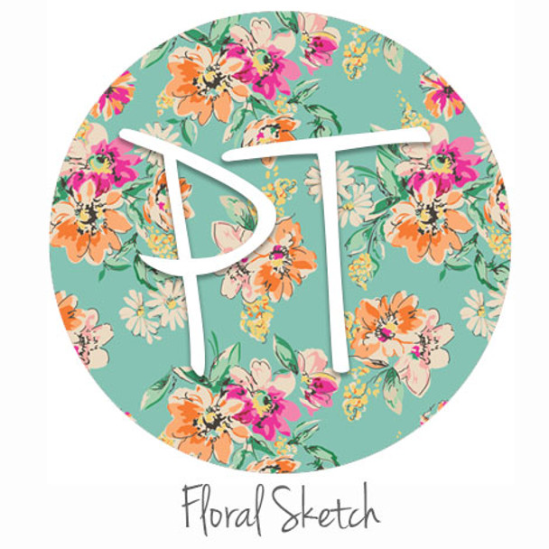 "12""x12"" Patterned Heat Transfer Vinyl - Floral Sketch"