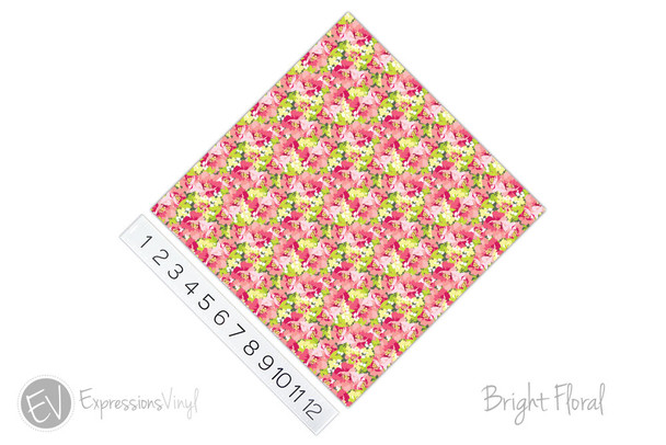 "12""x12"" Permanent Patterned Vinyl - Bright Floral"