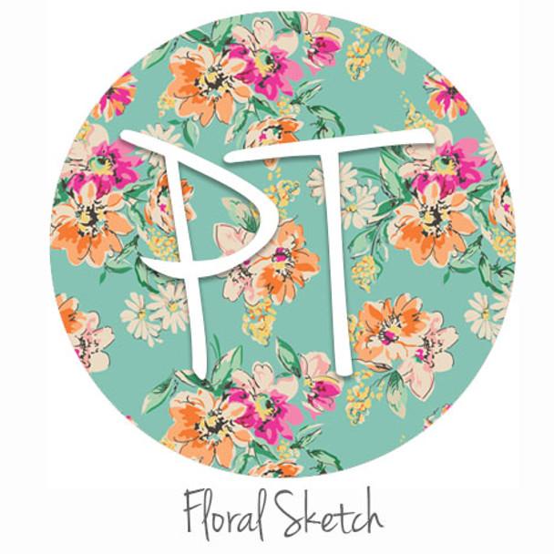 "12""x12"" Permanent Patterned Vinyl - Floral Sketch"