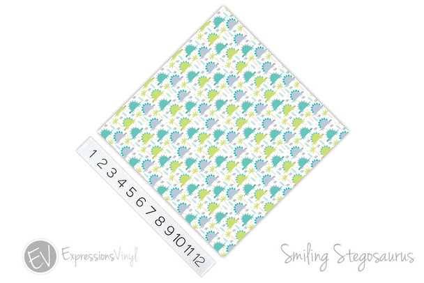 "12""x12"" Permanent Patterned Vinyl - Smiling Stegosaurus"
