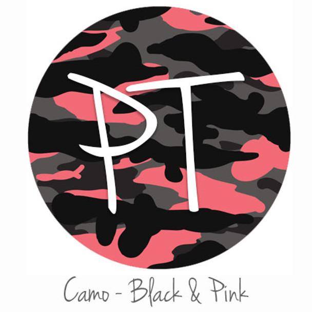 "12""x12"" Patterned Heat Transfer Vinyl - Camo - Black & Pink"