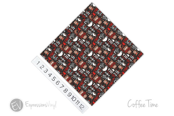"12""x12"" Patterned Heat Transfer Vinyl - Coffee Time"
