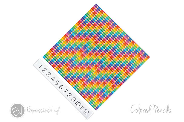 "12""x12"" Patterned Heat Transfer Vinyl - Colored Pencils"