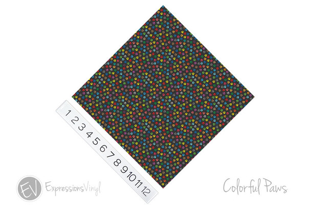 """12""""x12"""" Permanent Patterned Vinyl - Colorful Paws"""