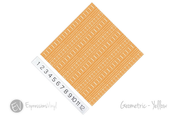 "12""x12"" Permanent Patterned Vinyl -Geometric - Yellow"
