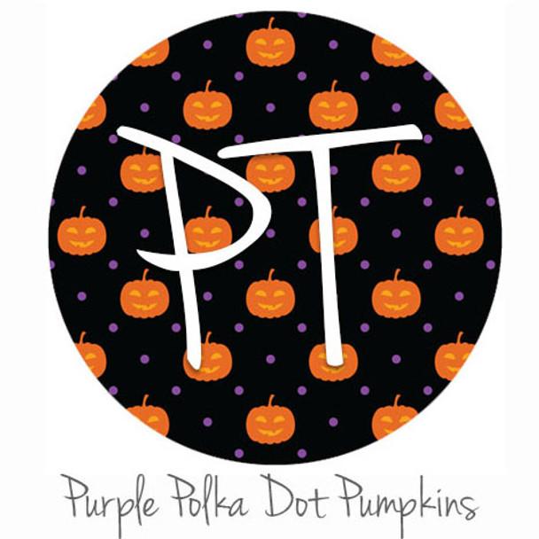 "12""x12"" Patterned Heat Transfer Vinyl - Polka Dot Pumpkin - Purple"