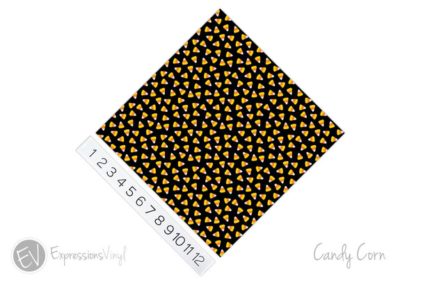 "12""x12"" Permanent Patterned Vinyl - Candy Corns"