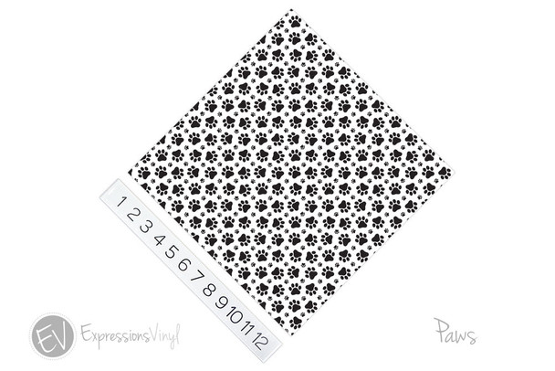 "12""x12"" Permanent Patterned Vinyl - Paws"