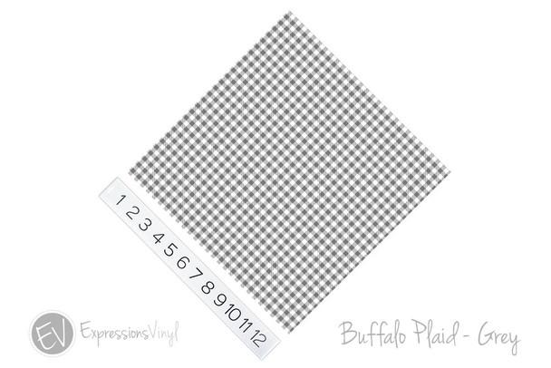 "12""x12"" Patterned Heat Transfer Vinyl - Buffalo Plaid - Grey"