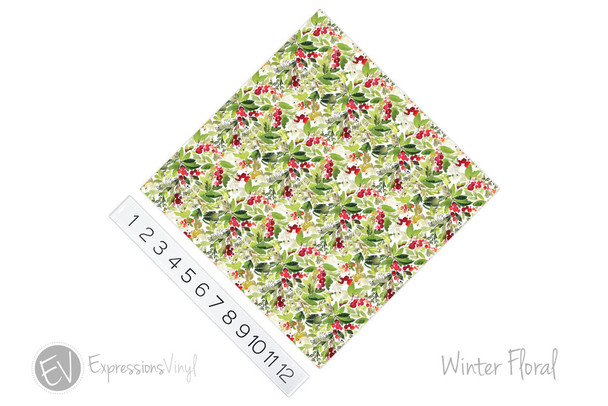 "12""x12"" Patterned Heat Transfer Vinyl - Winter Floral"
