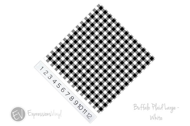 "12""x12"" Patterned Heat Transfer Vinyl - Buffalo Plaid Large - White"