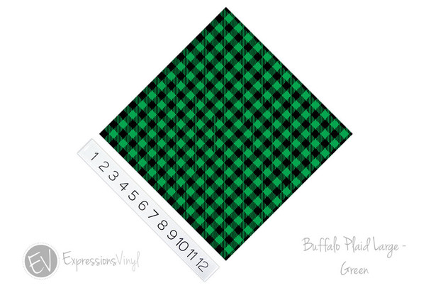 "12""x12"" Patterned Heat Transfer Vinyl - Buffalo Plaid Large - Green"