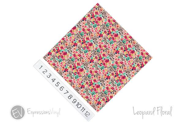 """12""""x12"""" Permanent Patterned Vinyl - Leopard Floral"""