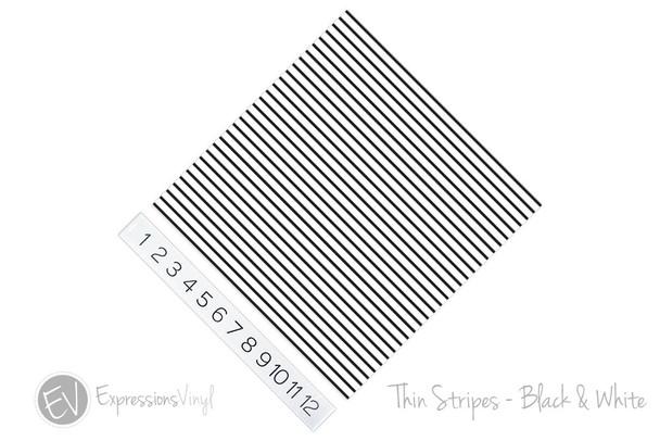 "12""x12"" Permanent Patterned Vinyl - Thin Stripe Black & White"