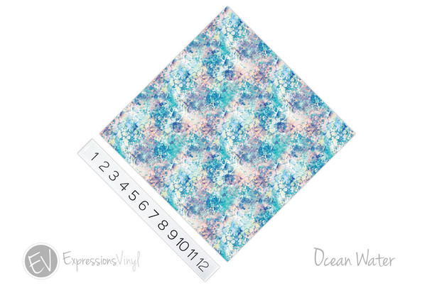 "12""x12"" Permanent Patterned Vinyl - Ocean Water"