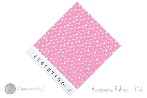 "12""x12"" Permanent Patterned Vinyl - Awareness Ribbon Pink"