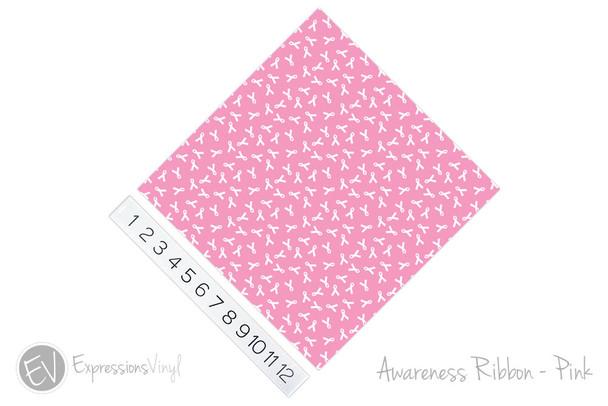 "12""x12"" Permanent Patterned Vinyl - Awareness Ribbon Pink"