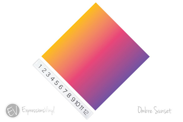 "12""x12"" Permanent Patterned Vinyl - Ombre Sunset"