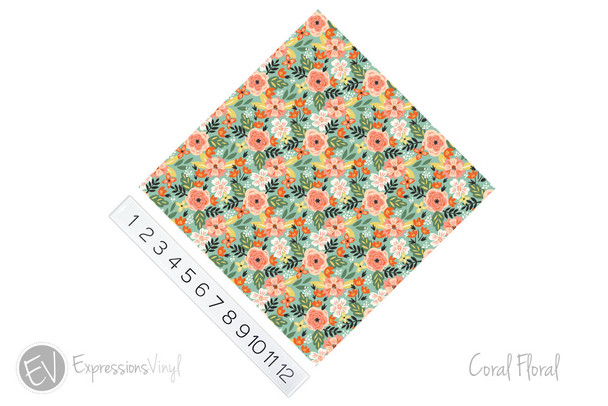"12""x12"" Permanent Patterned Vinyl - Coral Floral"