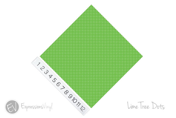"""12""""x12"""" Permanent Patterned Vinyl - Dots - Lime Tree"""