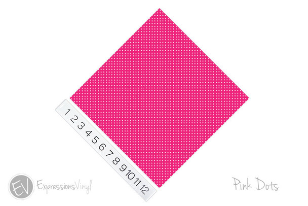 "12""x12"" Permanent Patterned Vinyl - Dots - Pink"