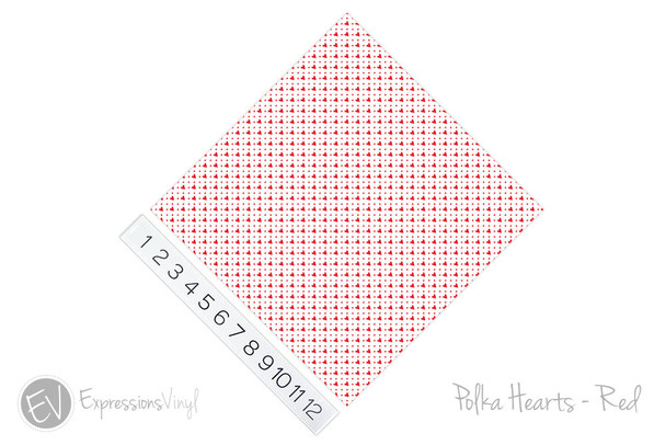 "12""x12"" Permanent Patterned Vinyl - Polka Hearts - Red"