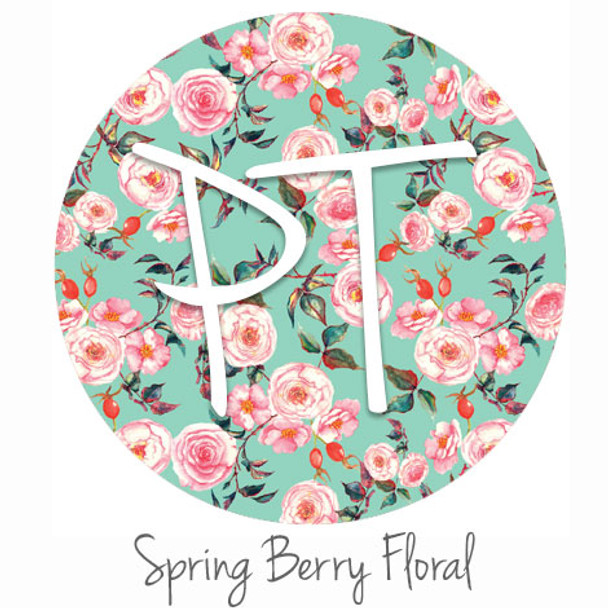 "12""x12"" Permanent Patterned Vinyl - Spring Berry Floral"