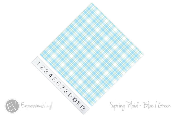 "12""x12"" Permanent Patterned Vinyl - Spring Plaid - Blue/Green"