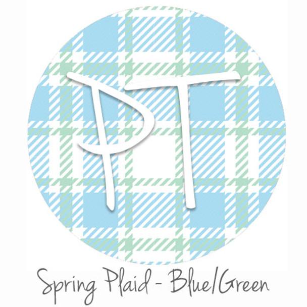 "12""x12"" Permanent Patterned Vinyl - Spring Plaid - Blue/Green"