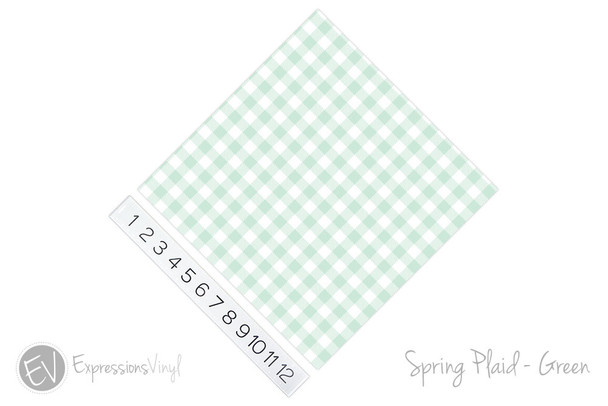 "12""x12"" Permanent Patterned Vinyl - Spring Plaid - Green"