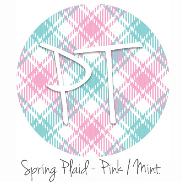 "12""x12"" Permanent Patterned Vinyl - Spring Plaid - Pink/Mint"