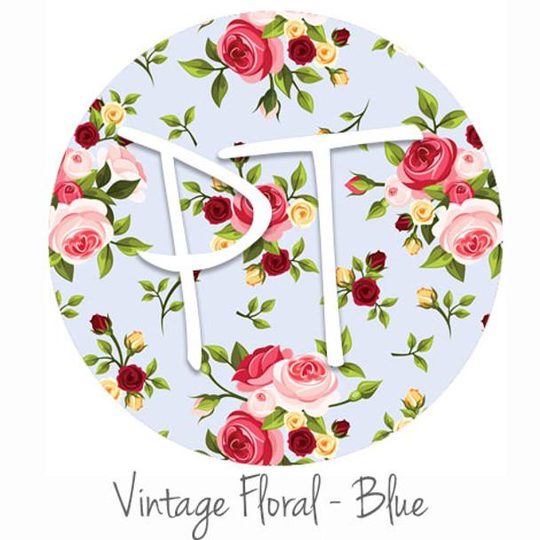 "12""x12"" Permanent Patterned Vinyl - Vintage Floral - Blue"