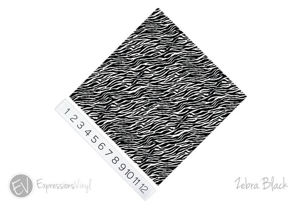 "12""x12"" Permanent Patterned Vinyl - Zebra - Black"