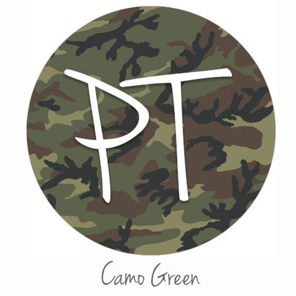 "12""x12"" Patterned Heat Transfer Vinyl - Camo - Green"