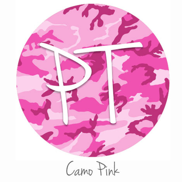 "12""x12"" Patterned Heat Transfer Vinyl - Camo - Pink"