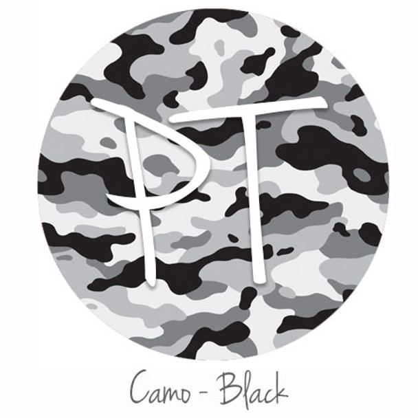 "12""x12"" Patterned Heat Transfer Vinyl - Camo - Black"