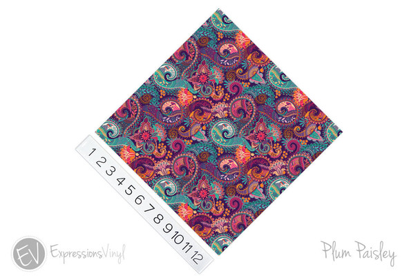 "12""x12"" Patterned Heat Transfer Vinyl - Plum Paisley"