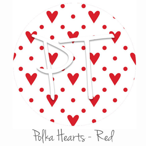"12""x12"" Patterned Heat Transfer Vinyl - Polka Hearts - Red"