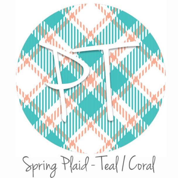 "12""x12"" Patterned Heat Transfer Vinyl - Spring Plaid - Teal/Coral"