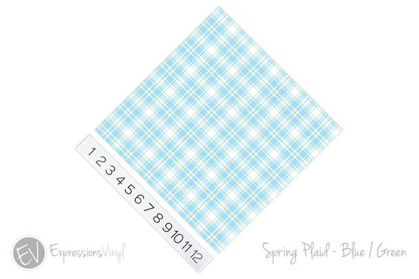 "12""x12"" Patterned Heat Transfer Vinyl - Spring Plaid - Blue/Green"