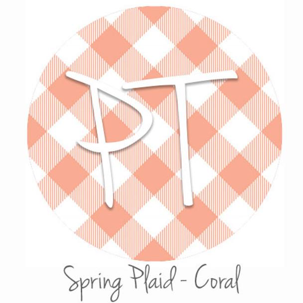"12""x12"" Patterned Heat Transfer Vinyl - Spring Plaid - Coral"